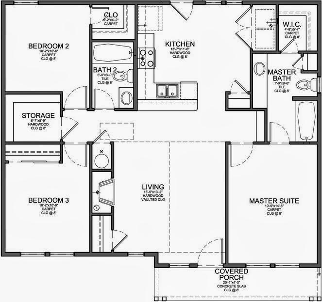 Plano de una casa de 3 dormitorios en 90 metros cuadrados - Planos de casas de 100 metros cuadrados ...