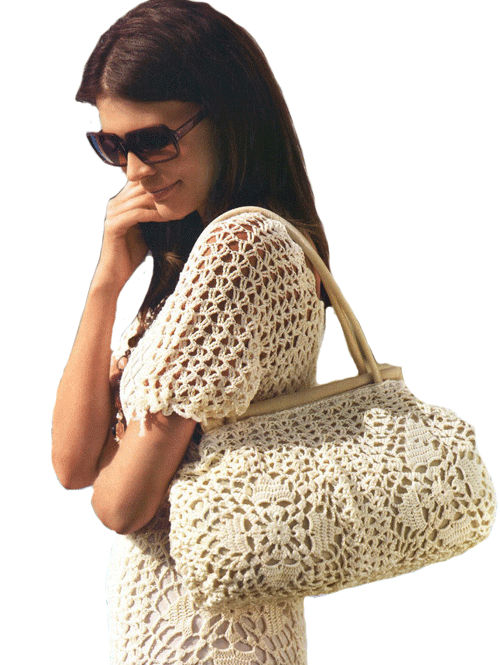 ажурная белая вязаная сумка