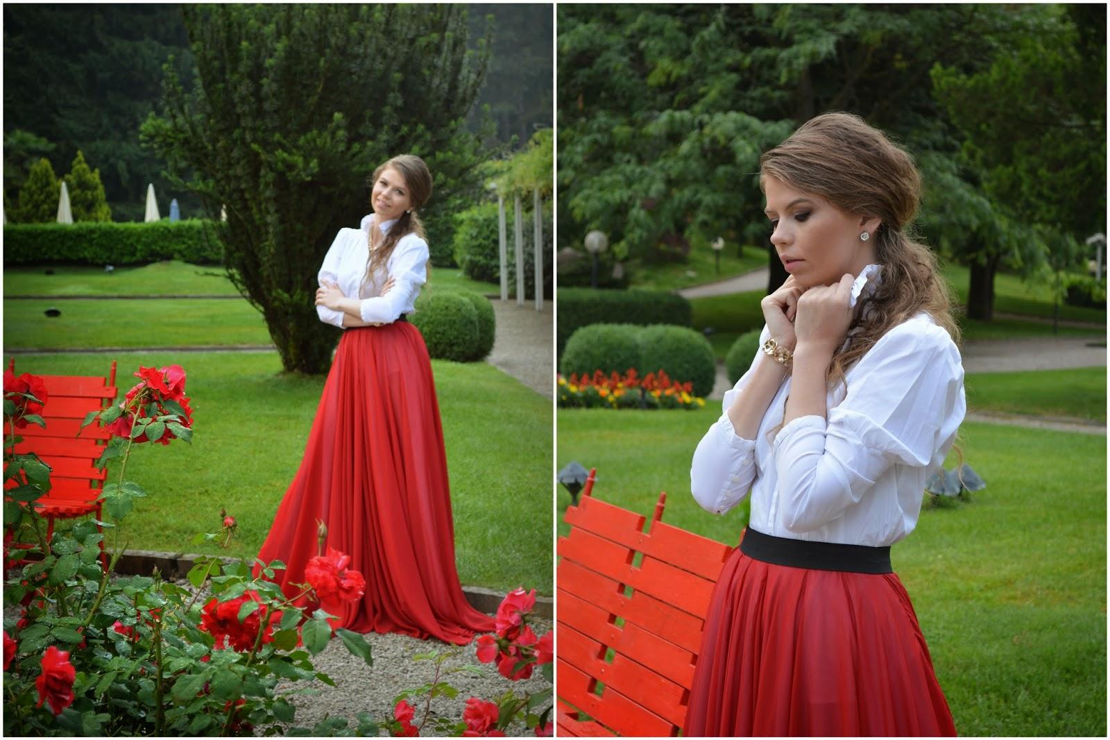 фотосессия в красной юбке с красными розами