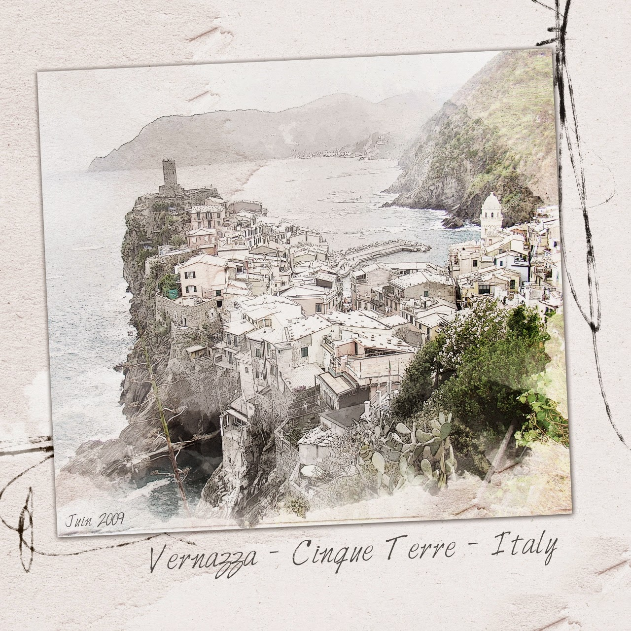 Vernazza Cinque terre scrap digital clin doeil design