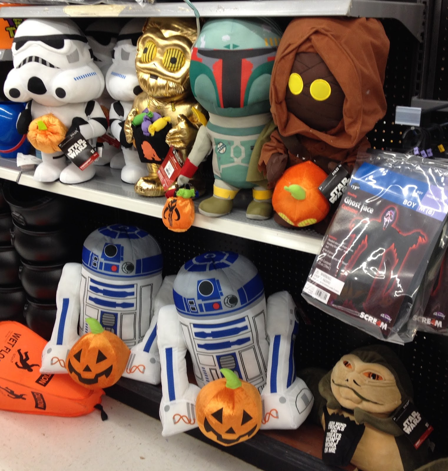 this year wal mart has a ton of star wars greeters theyre really fun and they havent lasted too long on the shelves at our local store - Walmart Halloween Decorations