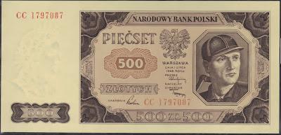 Polonia 500 Zlotych 1948 P# 140