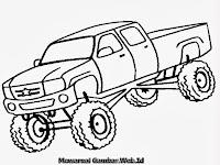 Gambar Mewarnai Mobil Truk Monster