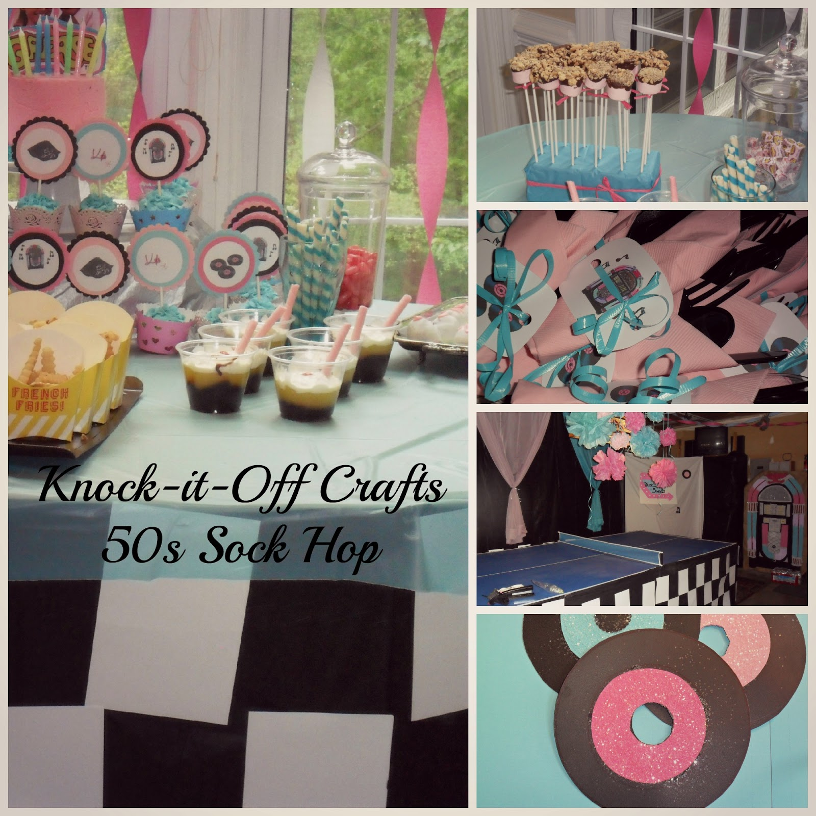 Knock it off crafts 50s sock hop for 50s party decoration ideas