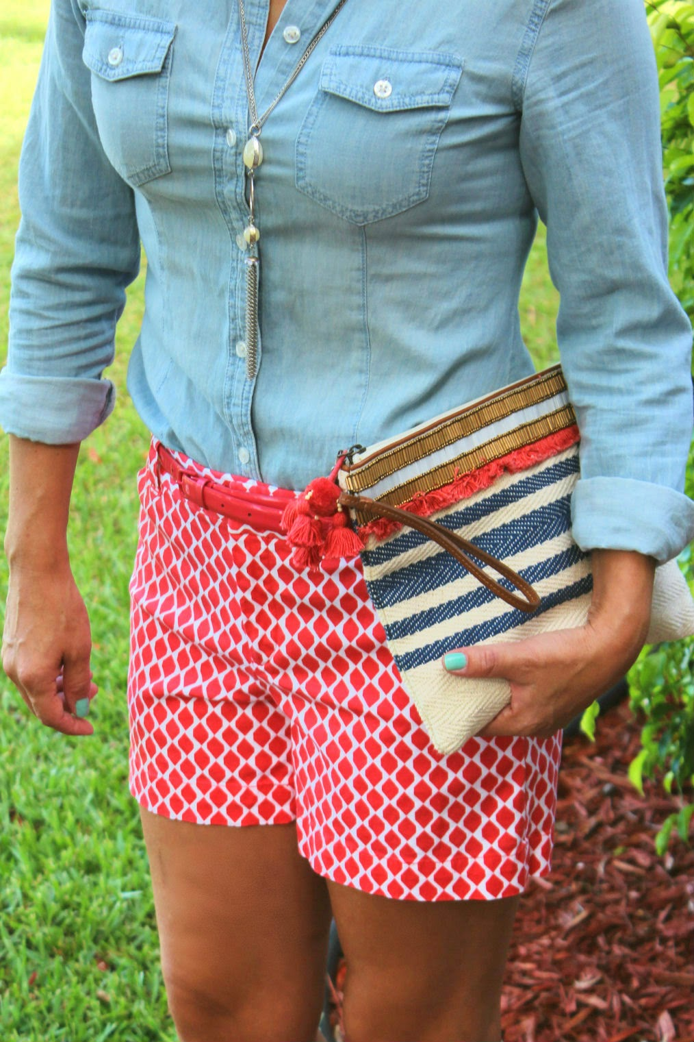 Loft light chambray, Banana Republic coral patterned shorts, Loft clutch