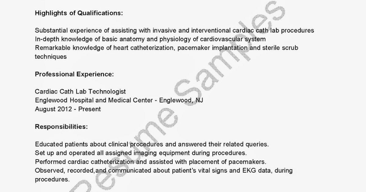 resume samples cardiac cath lab technologist resume sample