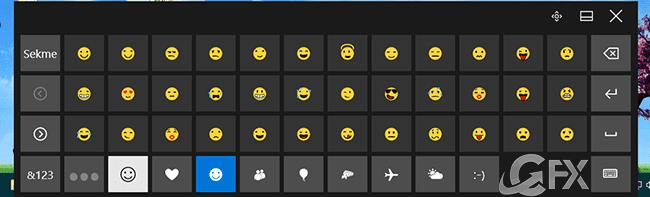 dokunmatik klavye ve emojiler