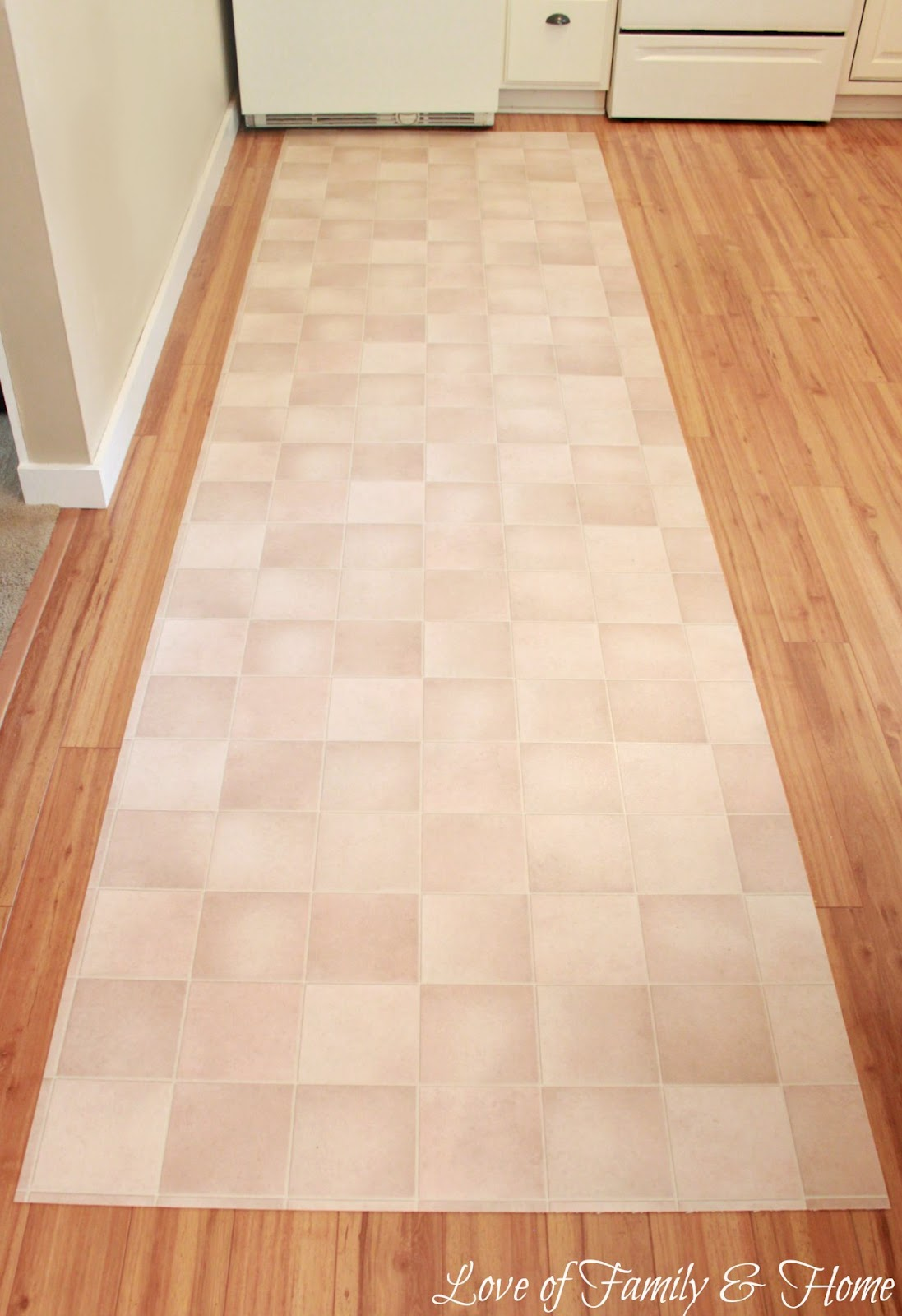 Linoleum Flooring Lowes >> How To Paint A Rug Using Vinyl Flooring.... - Love of Family & Home