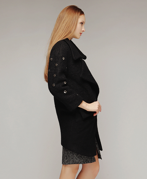 Punching out Studded Cocoon Coat