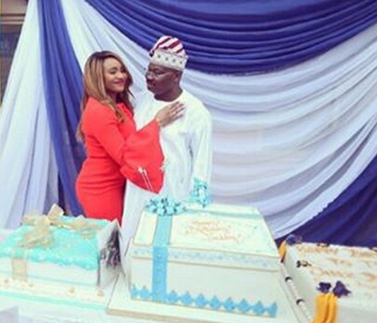 Gov Ajimobi gets sweet hug from daughter as he celebrated birthday