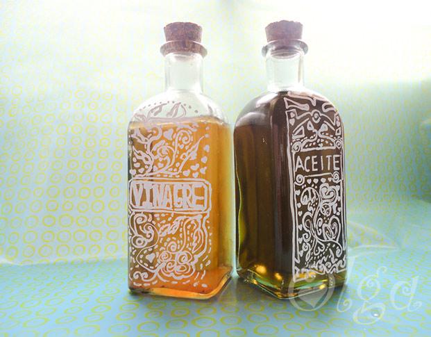 Como decorar una botella de cristal con letras el tocador - Decorar botellas de cristal ...