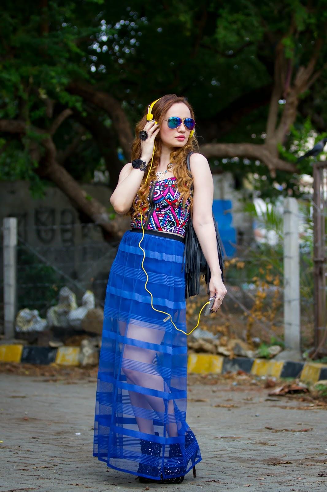 Gemoetric Crop Top & Sheer Maxi Skirt