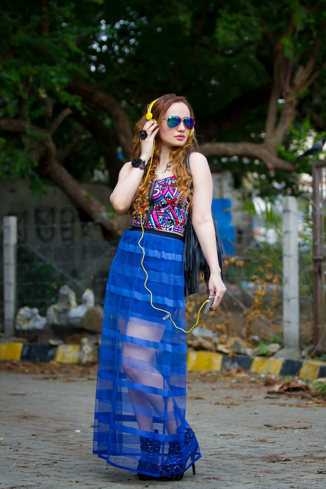 Gemoetric Crop Top & Sheer Maxi Skirt