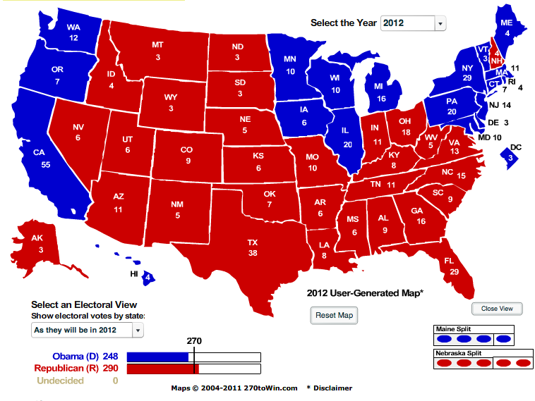 The Liberator Today 2012 Presidential Election Electoral Map