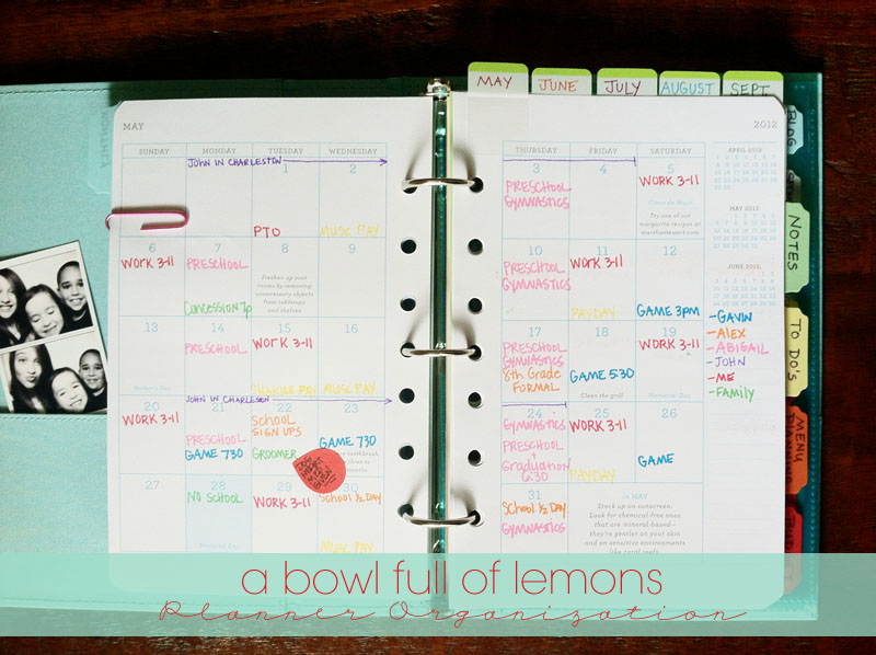 Planner organization a bowl full of lemons for Color coding planner