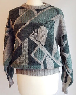 80s Geometric Grey Shades Sweater for Men