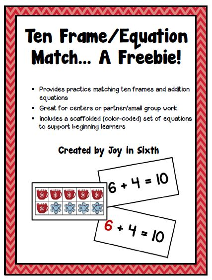 Fern Smith's Classroom Ideas Guest Freebie Friday ~ FREE Winter Ten Frame/Equation Match at TeachersPayTeachers