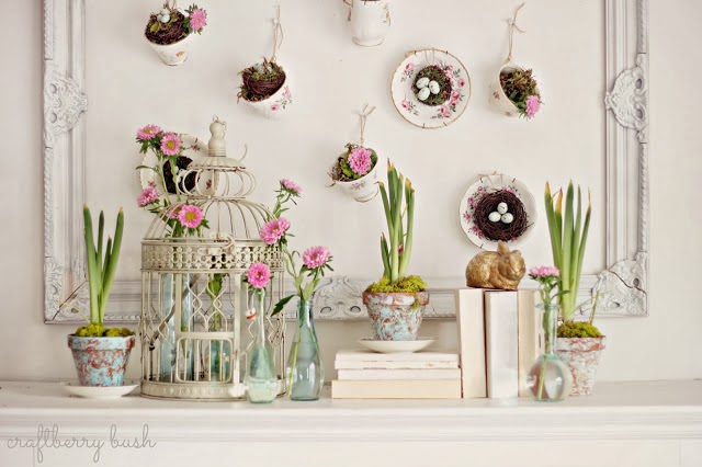 Spring teacups mantle