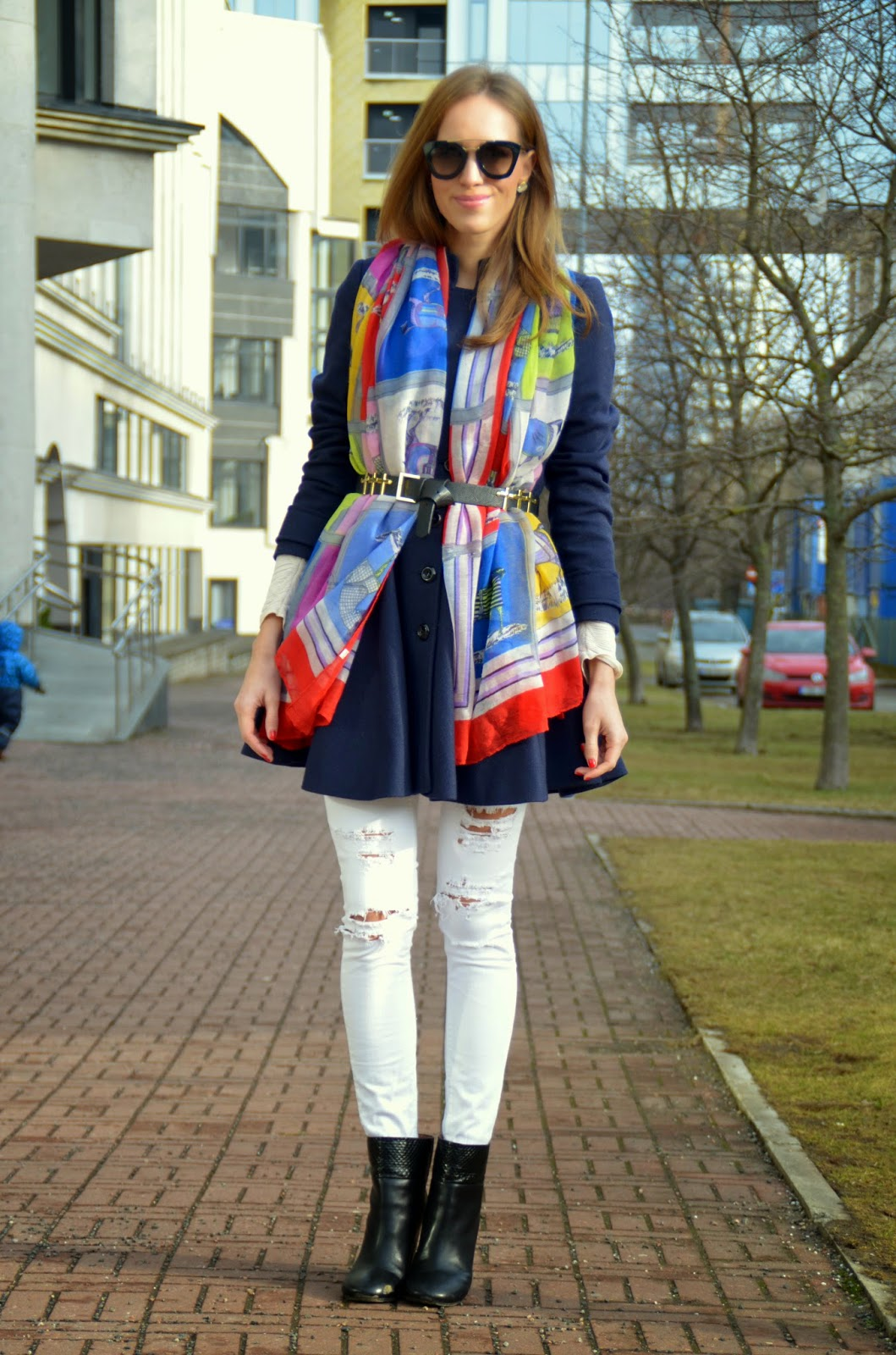 scarf-over-blue-wool-coat-outfit-white-jeans-black-ankle-boots kristjaana mere