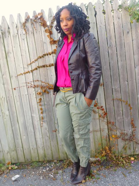 Fuchsia blouse and cargo pants