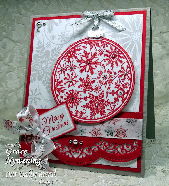 ODBD Stamps: Christmas Pattern Orn, Poinsettia Wreath, designer Grace Nywening