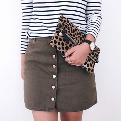 simplyxclassic, stripes, instagram, clare vivier, leopard clutch, olive green skirt, ootd, fashion, style, blogger,