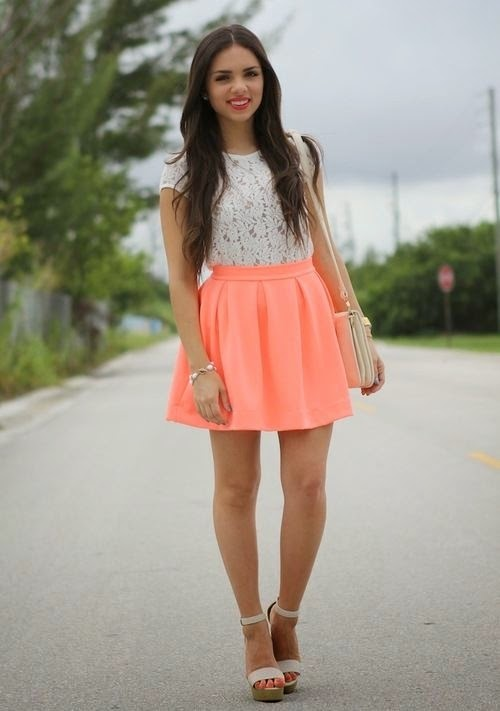 White lace shirt and coral skirt