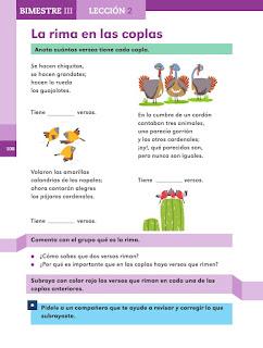 Apoyo Primaria Español 2do grado Bloque 3 lección 2 La rima en las coplas
