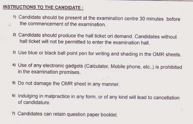 LAB ASSISTANT EXAM :INSTRUCTION TO THE CANDIDATES ON THE DATE OF EXAMINATION