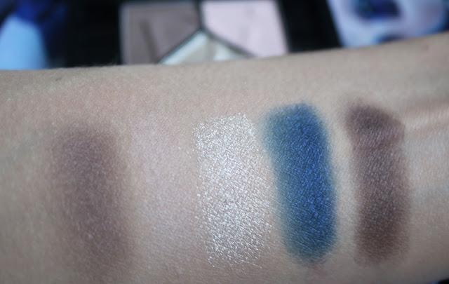 свотчи осенней пятерки теней на руке: нюдовые и синие тени