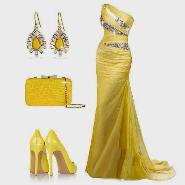 Straplez Sarı Uzun Abiye Nişan Kıyafeti ve Kombini
