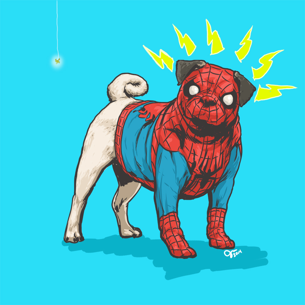 02-Peter-Parker-Spider-Man-Josh-Lynch-Illustrations-of-Dogs-with-Marvel-Comic-Alter-Egos-www-designstack-co