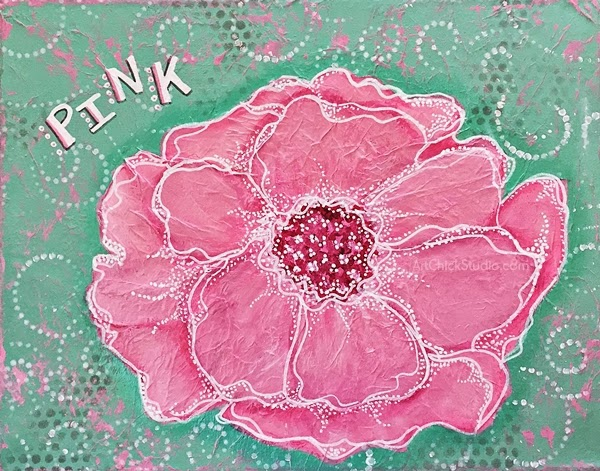 Pink Bloom Flower Mixed Media