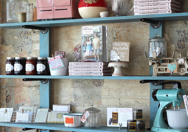 These Shelves Held Tons Of Vintage Kitchen Ware Along With The Bakerys Own Cookbook Im Sure Its Amazing