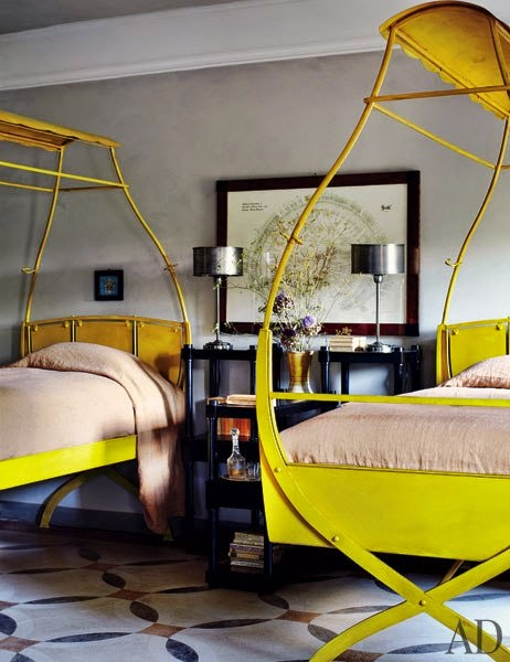rustic yellow beds