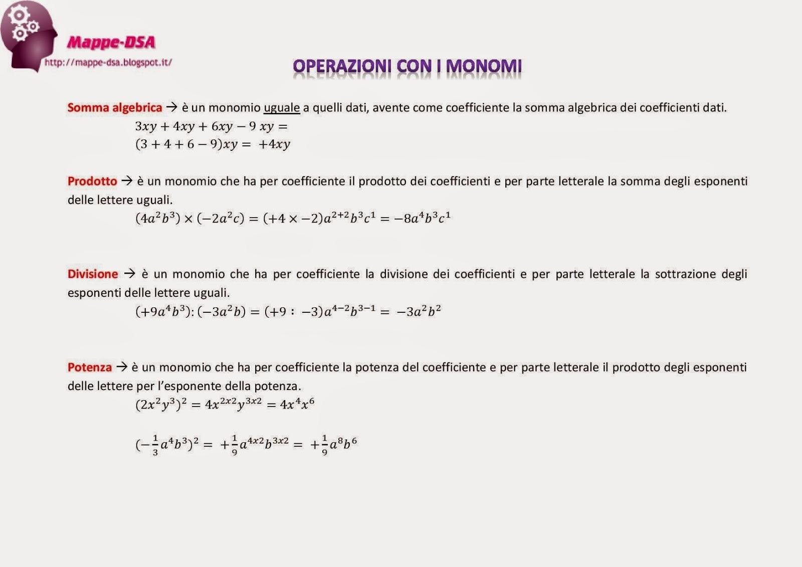 mappedsa schema matematica discalculia dislessia operazioni con i monomi