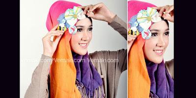 Cara Memakai Hijab Jilbab Pashmina Styles Trend Pelangi Kombinasi Headband