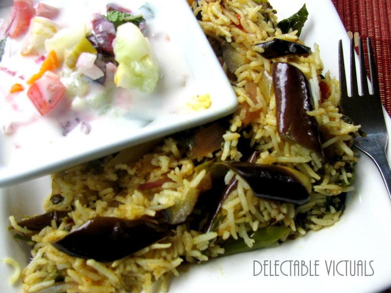 Home Garden Eggplant, Kale, Chard, Mint Rice with Lemon Cucumber Cherry Raita