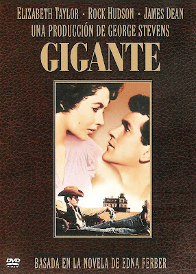 Carátula de la película Gigante, de 1956, dirigida por George Stevens y protagonizada por James Dean, Rock Husson y Elizabeth Taylor. HITOS DEL CINE. Making Of