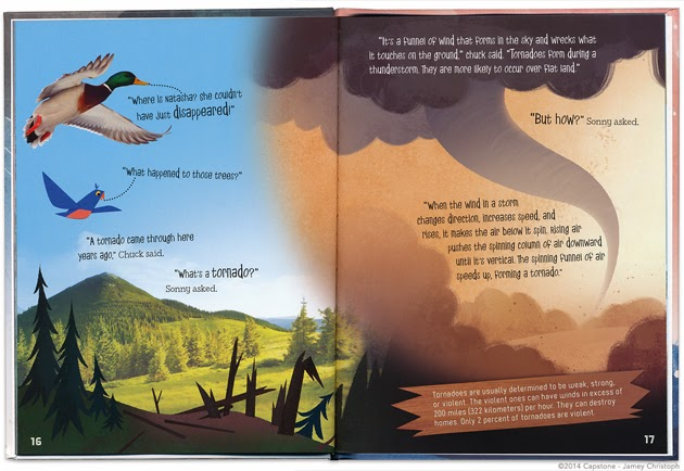 Interior illustration for Wild Weather: Science Adventures with Sonny the Origami Bird