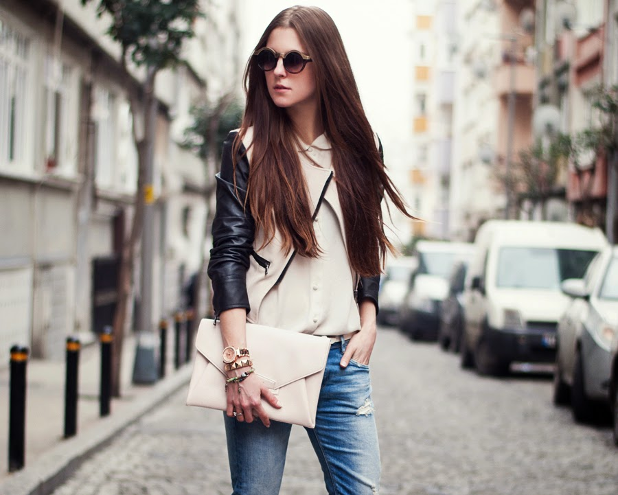 Streetstyle istanbul, fashion blogger 2014, russian blogger , leather sleeves jacket outfit, long hair, round glasses, spring trends 2014