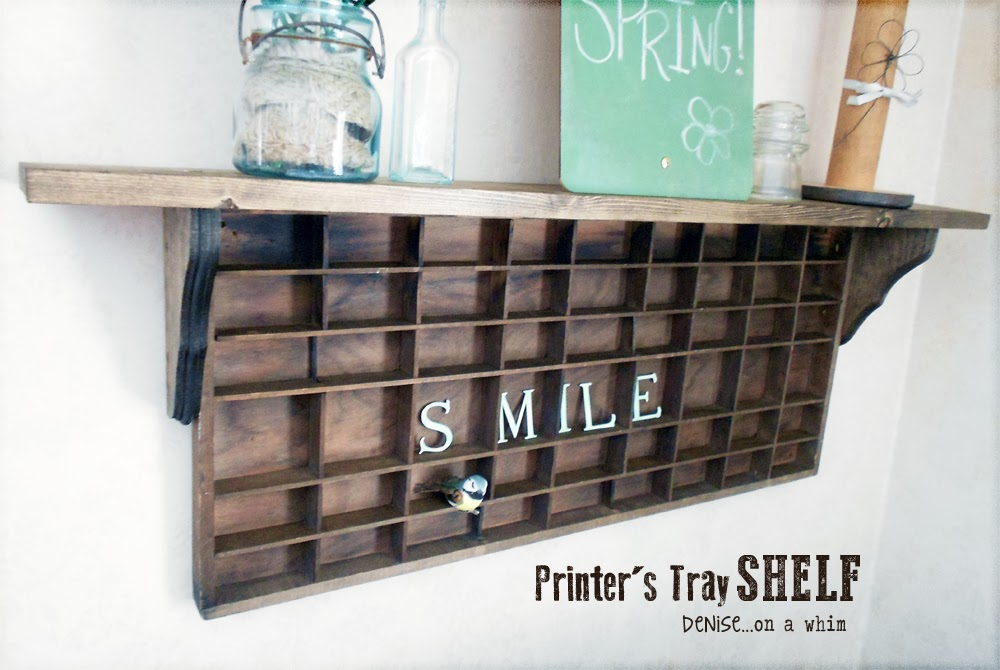 Printer's Tray Shelf DIY via http://deniseonawhim.blogspot.com