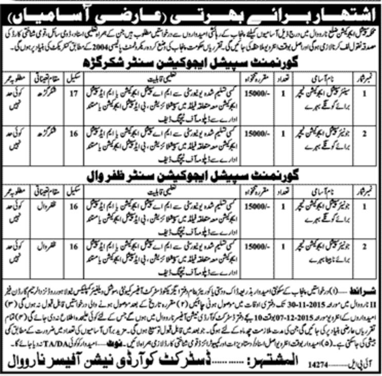 Special Education Teachers Jobs in District Narowal Punjab