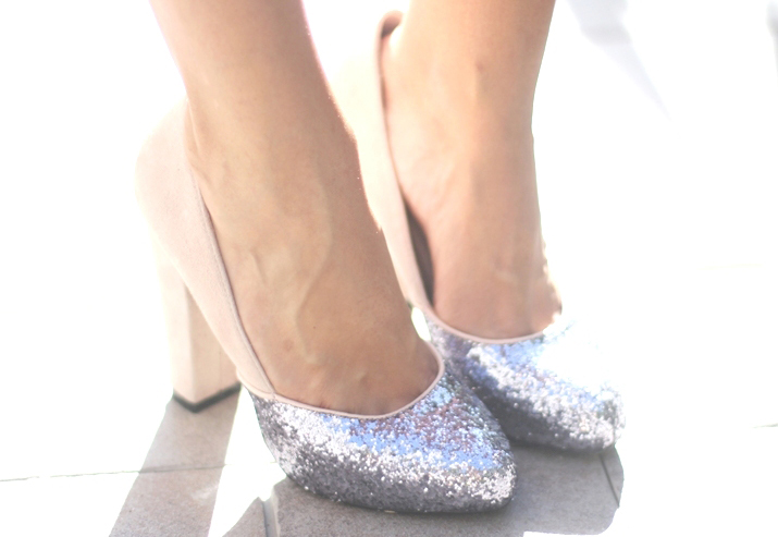 Glitter shoes blogger