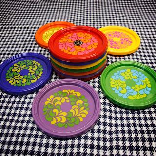 Sous verres vintage Emsa, motifs colorés années 70 par la puce au grenier