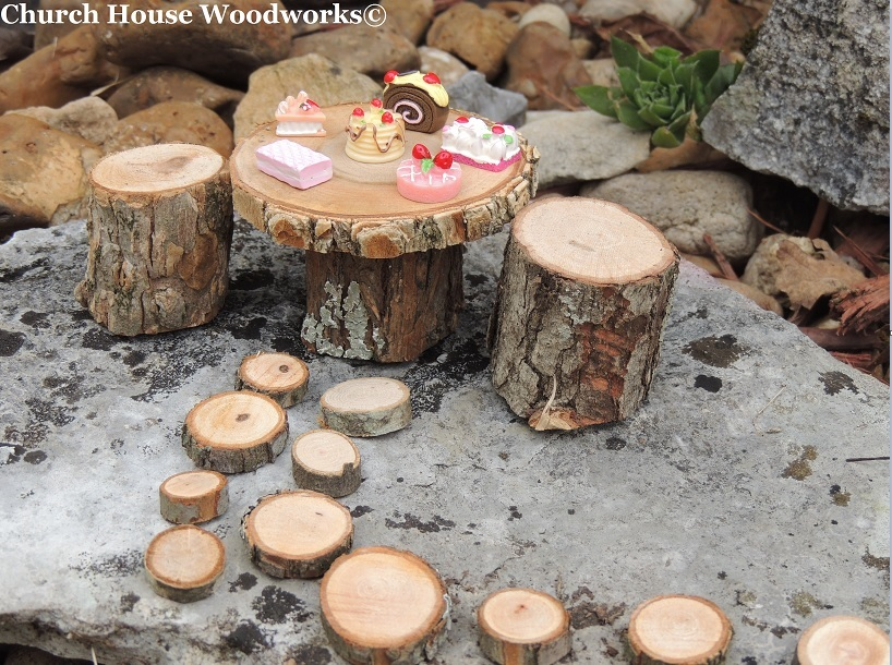 Garden Wood Slice Table And Chairs With Stepping Stones Kit, Wood Slice  Stepping Stones,