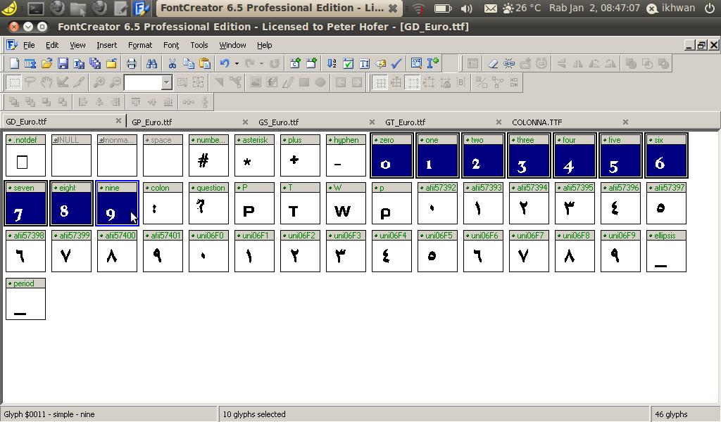 angka pada file GD_euro sudah berganti menjadi font Colonna MT