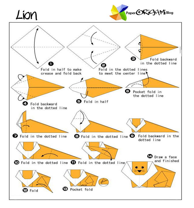 Origami Moose Diagram http://paperorigami.blogspot.com/2011/09/animals-origami-lion.html