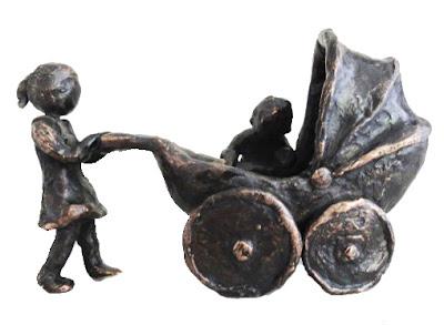 Bronze sculpture pram with children