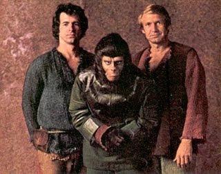 Dans l'ordre : James Naughton (Alan Virdon le défaitiste), Roddy McDowall (Galen), Ron Harper (Peter Burke, l'optimiste)